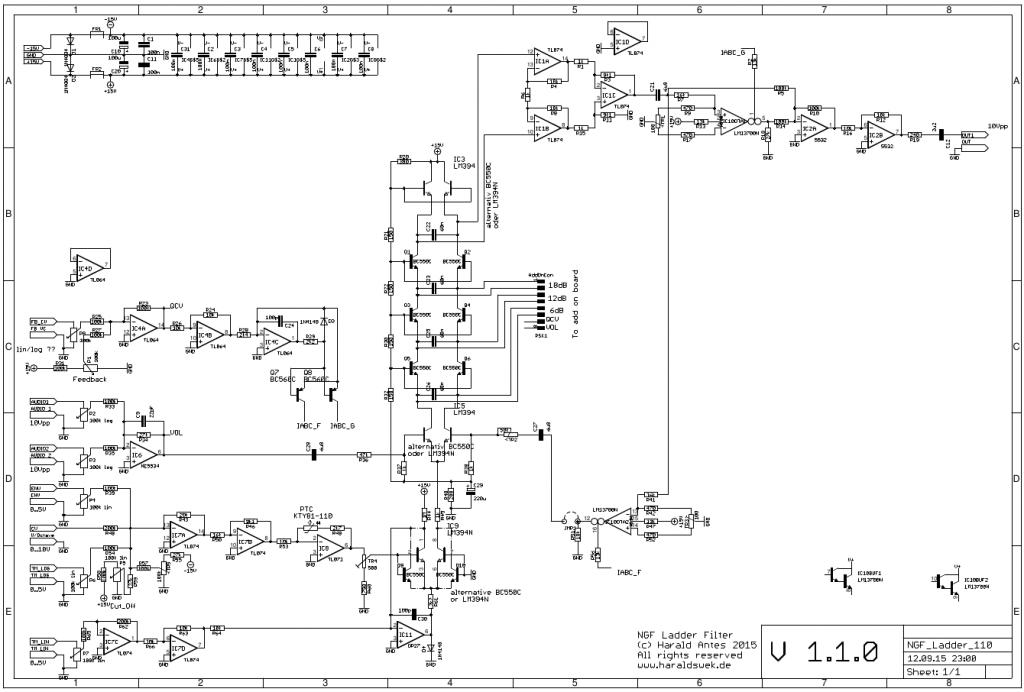 Moog Ladder Filter schematic