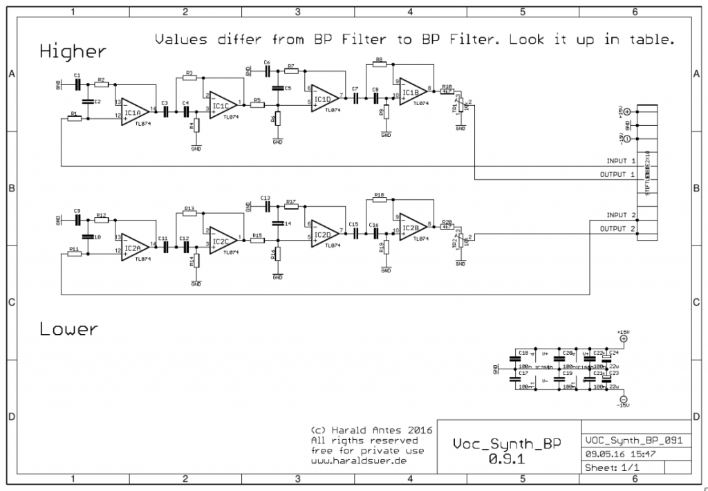 Vocoder: Synthesizer schematic band pass filter.