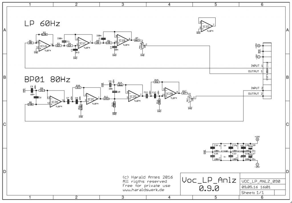 Vocoder: Synthesizer schematic low pass / band pass