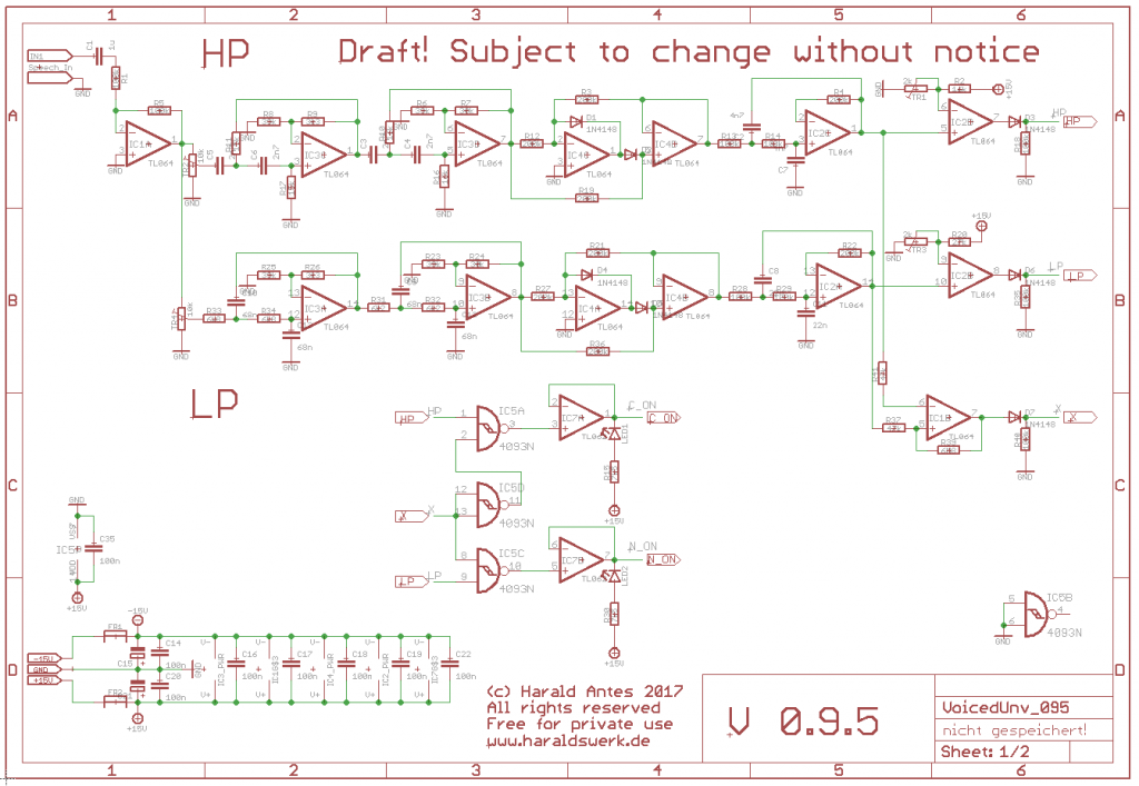 NGF Vocoder Project: Voiced/unvoiced detection. Schematic draft