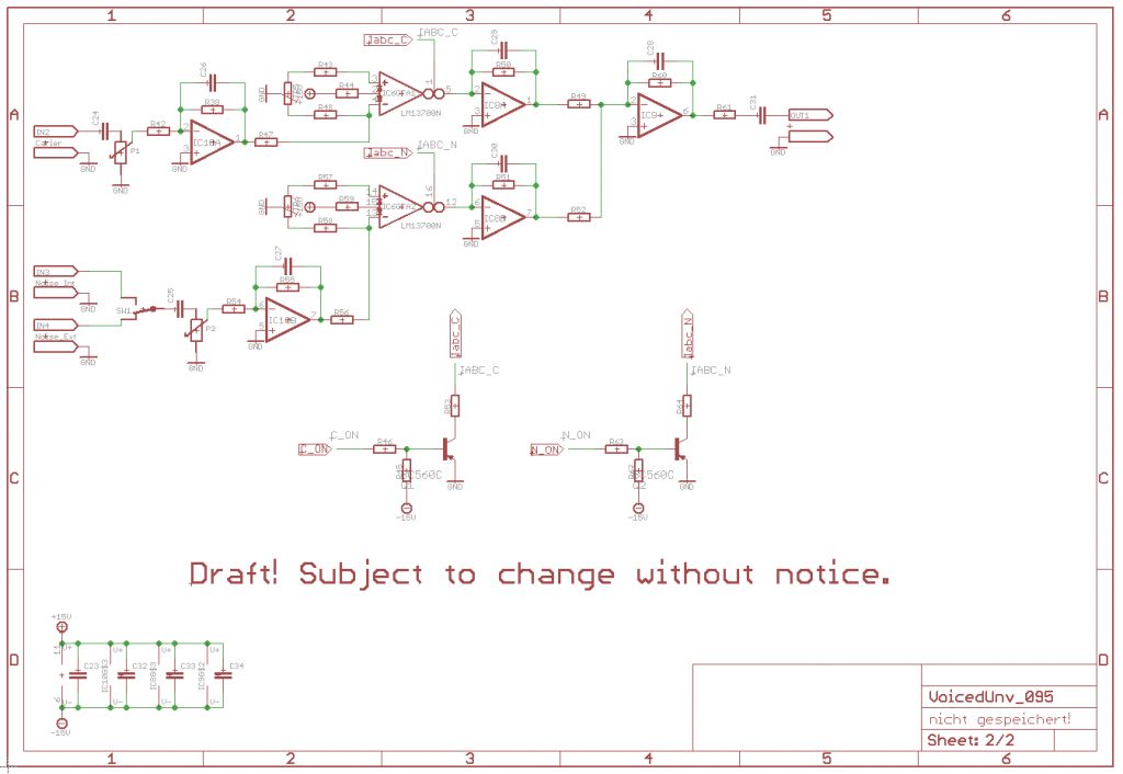 NGF Vocoder Project: Voiced/Unvoiced detection. Scheamtic draft