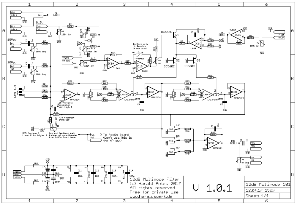 NGF Project: 12dB Multimode VCF schematic