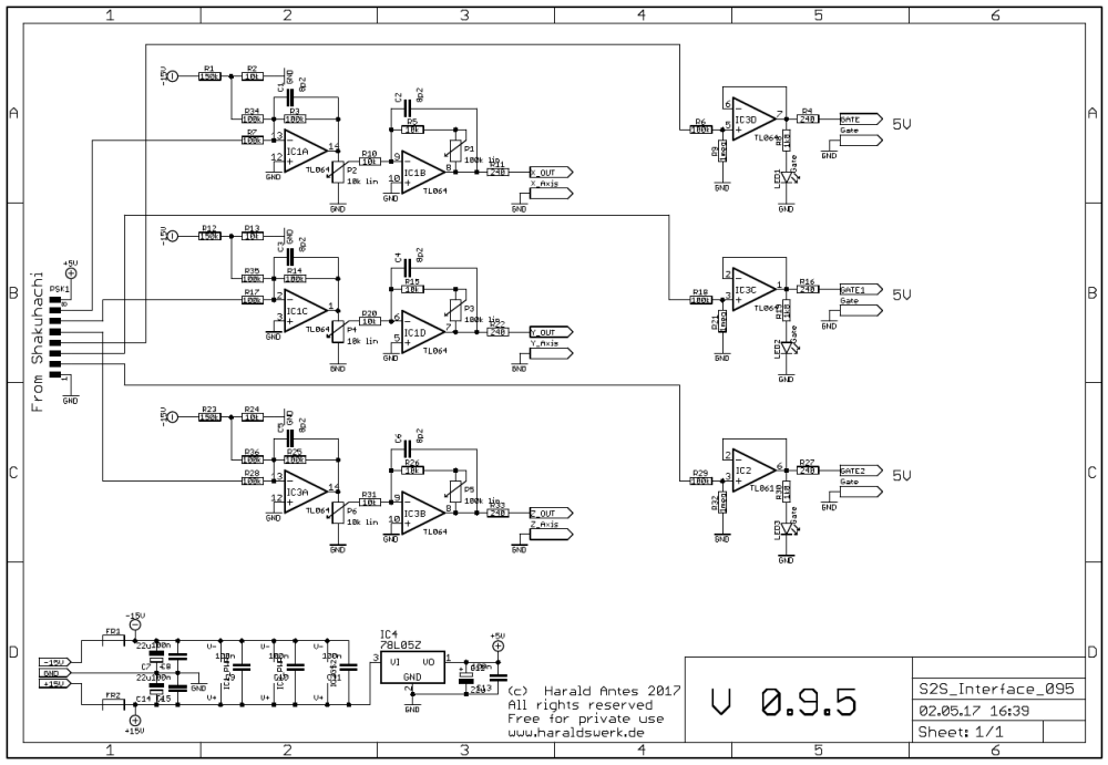 Shakuhachi 2 Synth Project: E-Shak Interface schematic