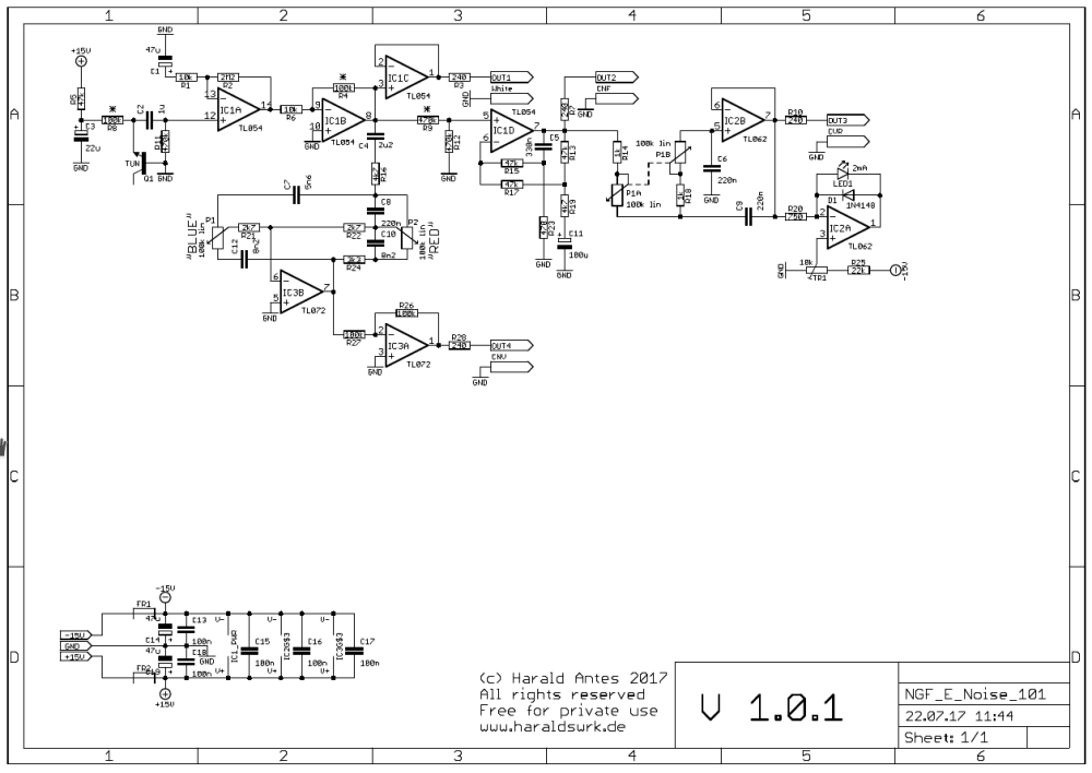 NGF-E Project: White and coloured noise, random voltage schematic