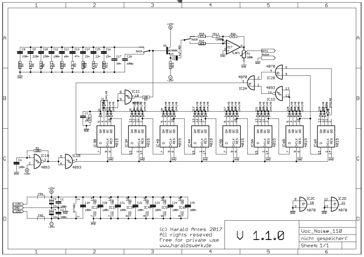 NGF Vocoder: Pink and white noise source schematic
