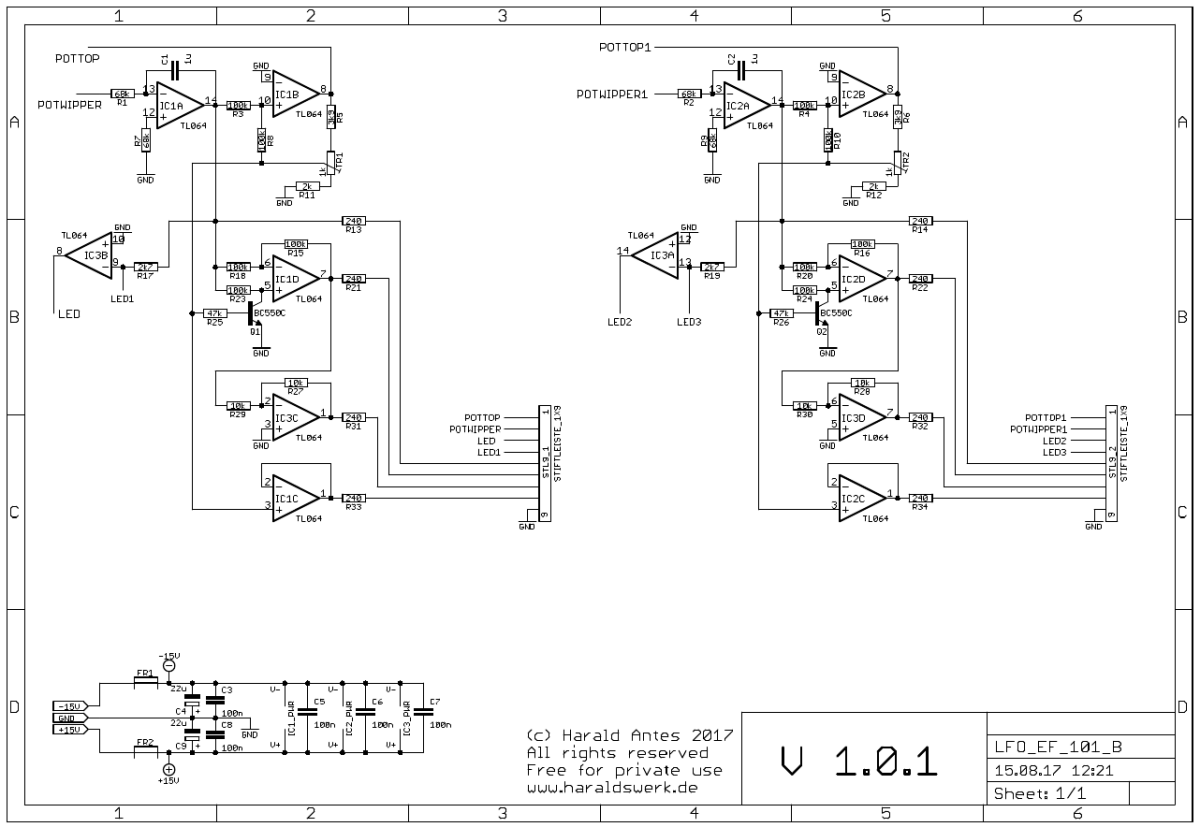 LFO flat Version Schematic back PCB