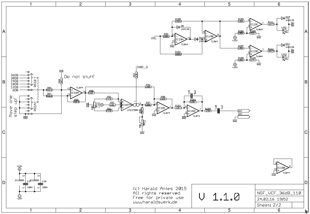 36dB VCF LP/HP schematic page two