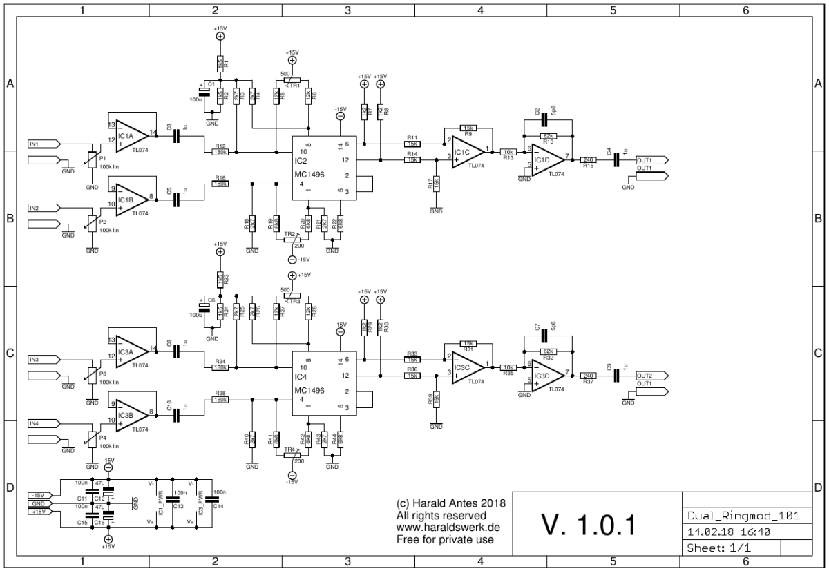 NGF Project: Dual Ringmodulator schematic