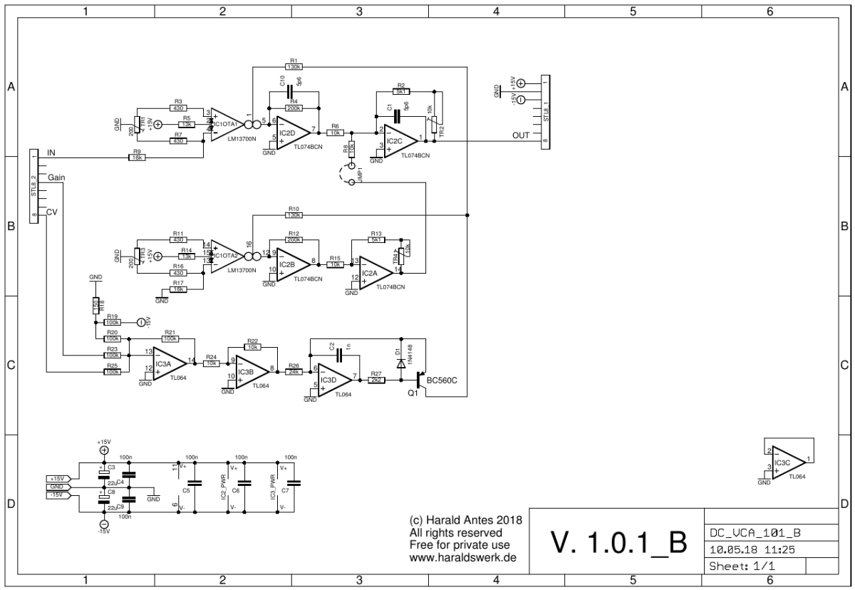 VCA DC schematic back PCB