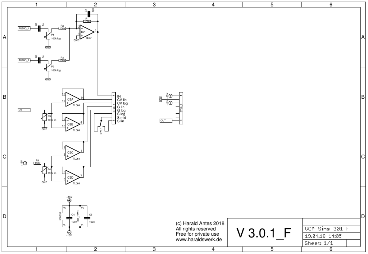 VCA Sims schematic front PCB