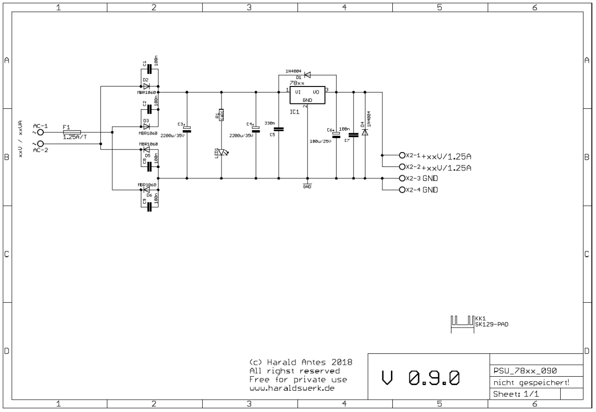 Basic PSU with 78xx voltage regulator schematic
