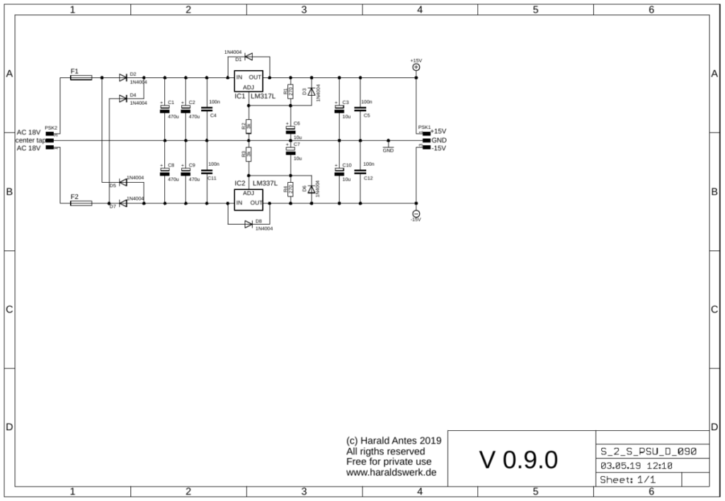 Dual voltage PSU with 3 pole external AC input schematic