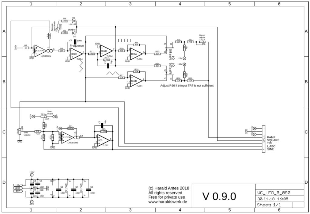 Voltage controlled LFO schematic