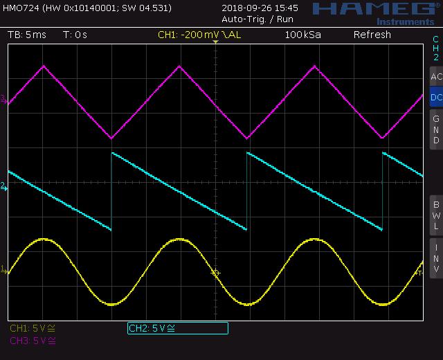 Voltage controlled LFO screenshot waveforms: triangle ramp down, sine