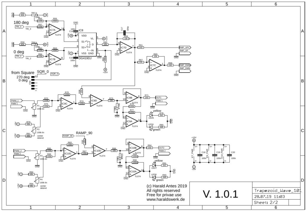 PCB quad waveshaper for quadrature thru zero VCO