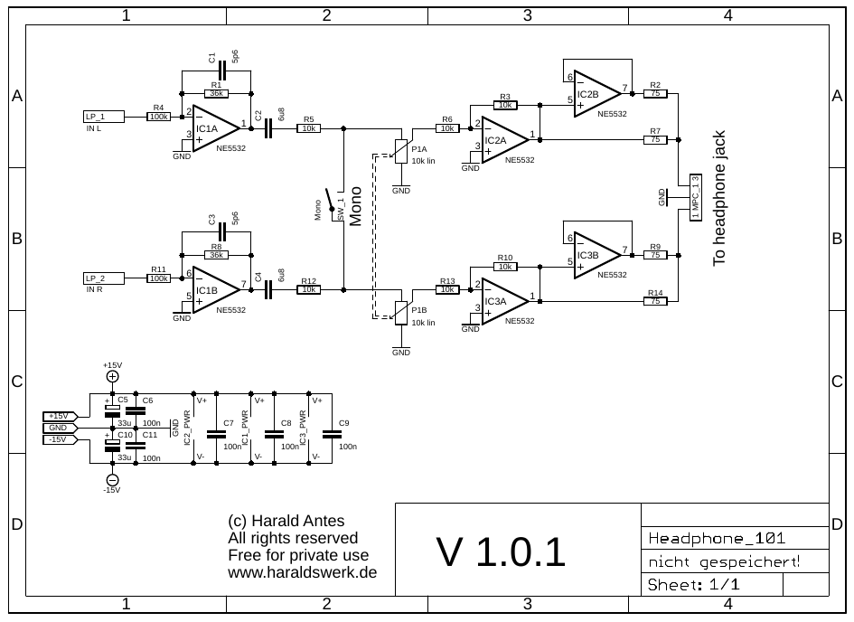 Headphone amplifier schematic