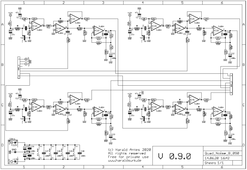 Quad white and colored noise source. Quad random voltage source. Schematic main PCB