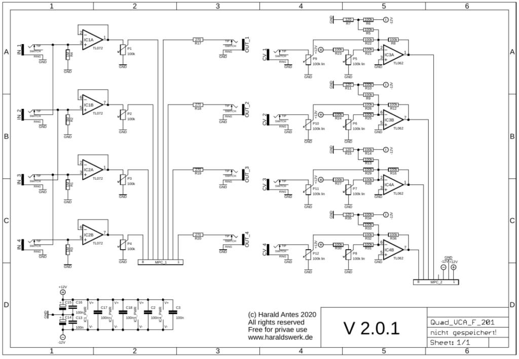 Quad VCA schematic control board DC
