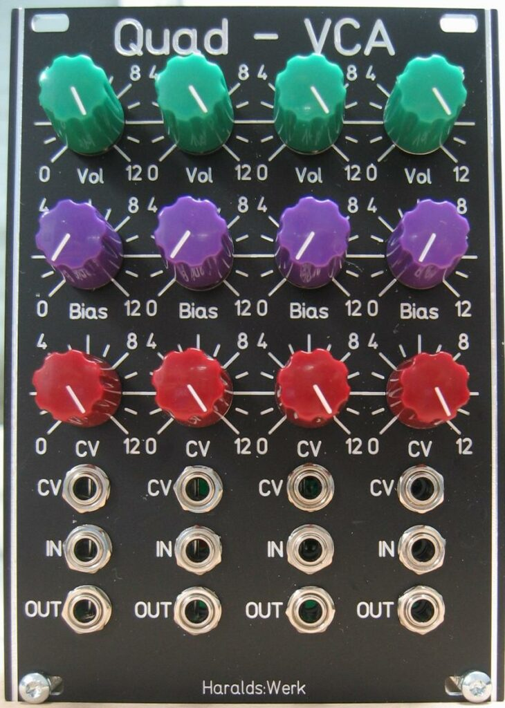 Quad VCA, AC or DC coupled with normalized input. Front view