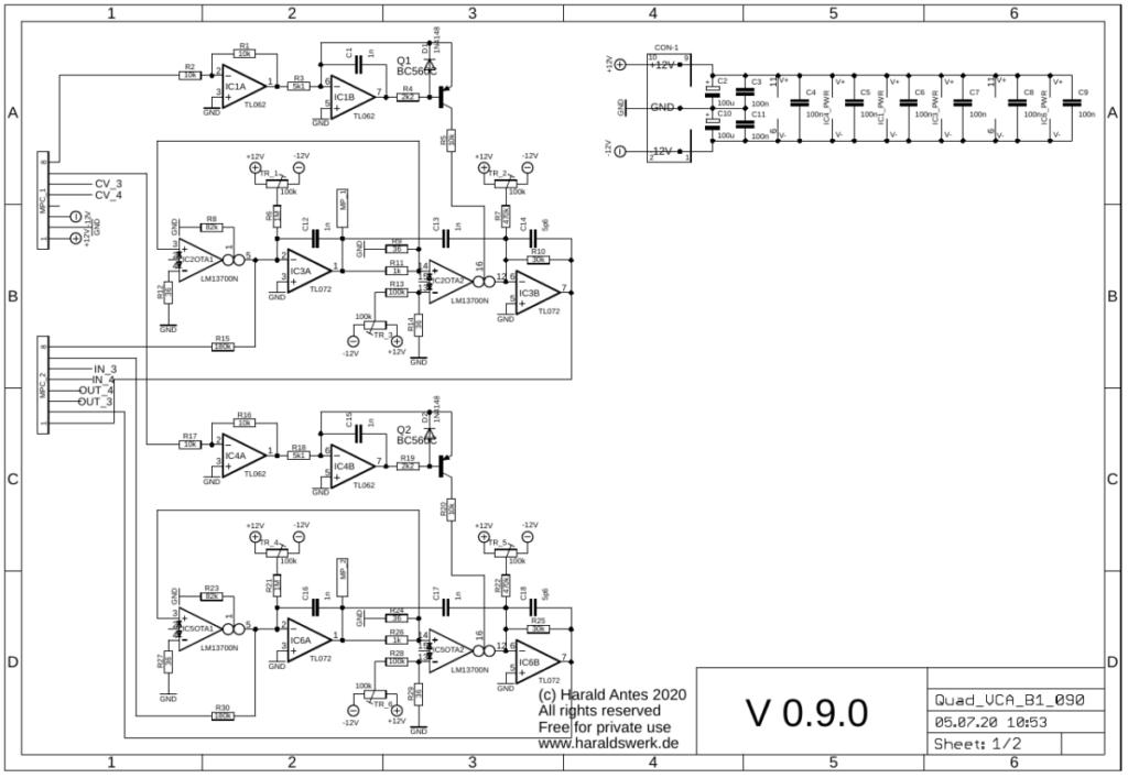 Quad VCA schematic main PCB
