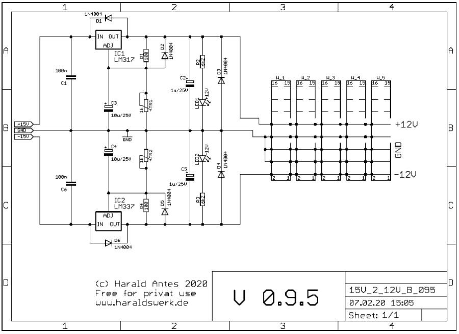 15V to 12V adaptor schematic