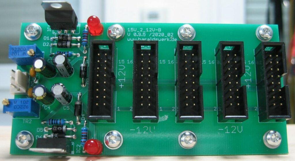 15V to 12V adaptor populated PCB