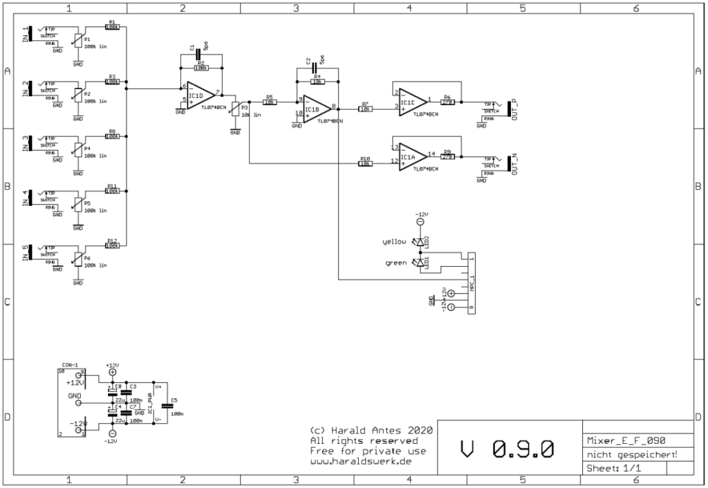 Mixer: Schematic control board