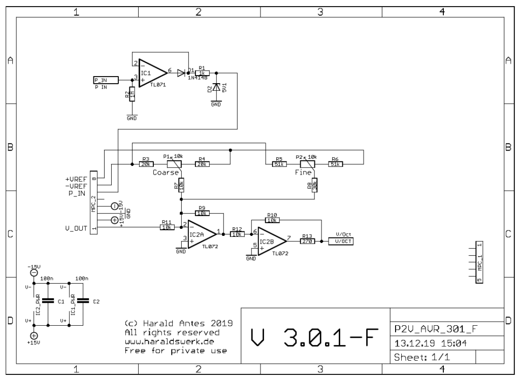 Pitch to voltage converter: Control board