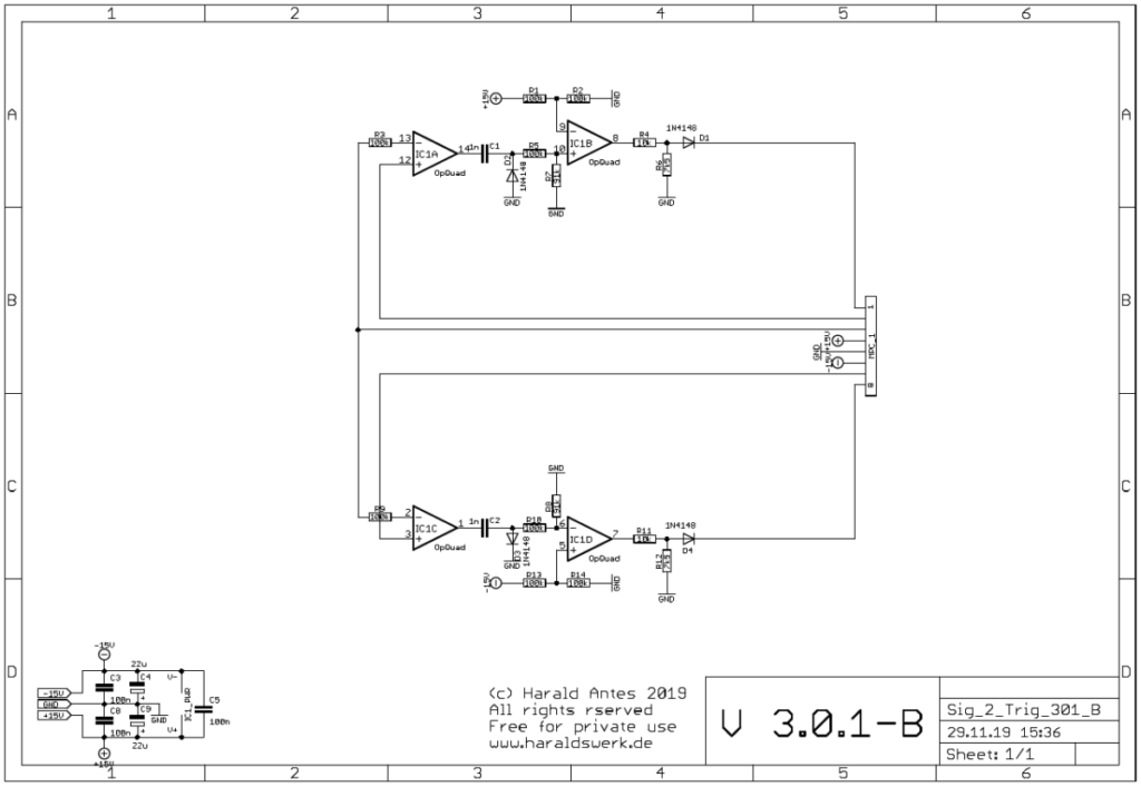 Signal to Trigger Converter: Schematic main board