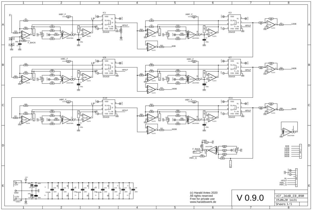 6..36db VCF Highpass/Lowpass: Main board schematic