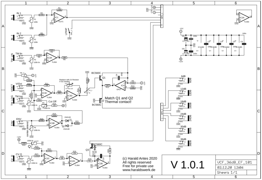 6..36db VCF Highpass/Lowpass: Control board schematic