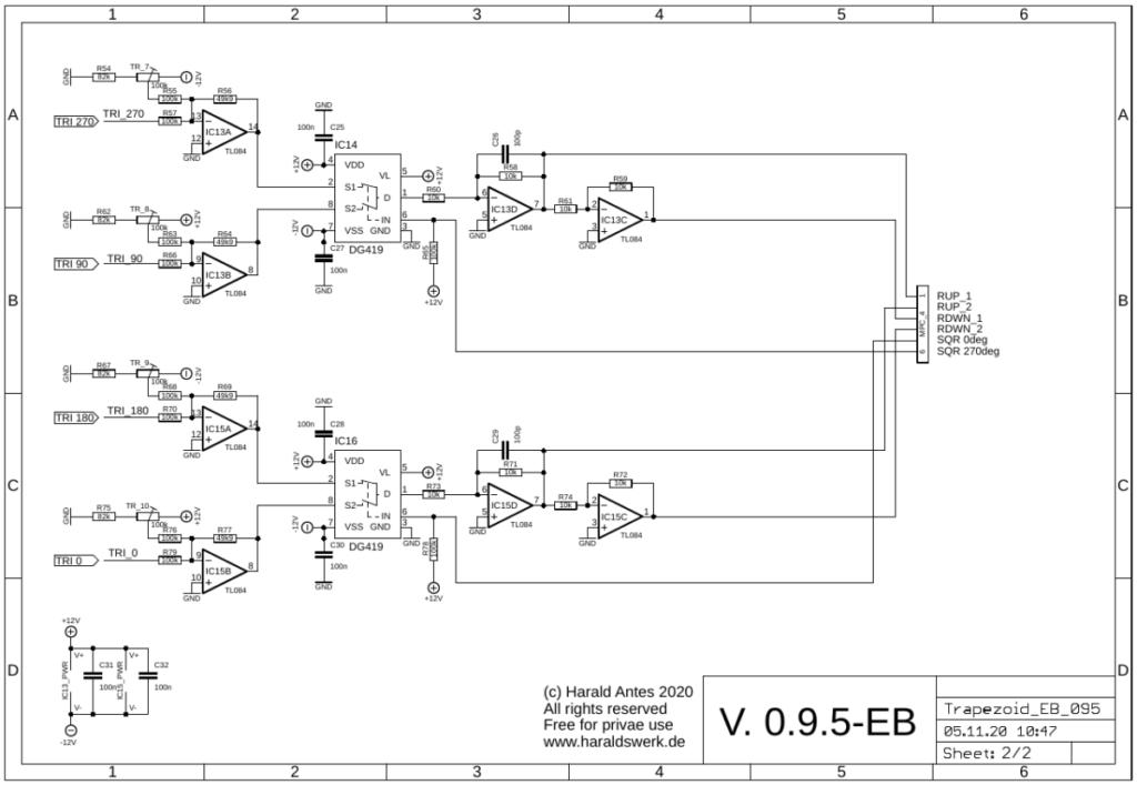 Trapezoid quadrature through zero VCO with waveshapers: Schematic main PCB