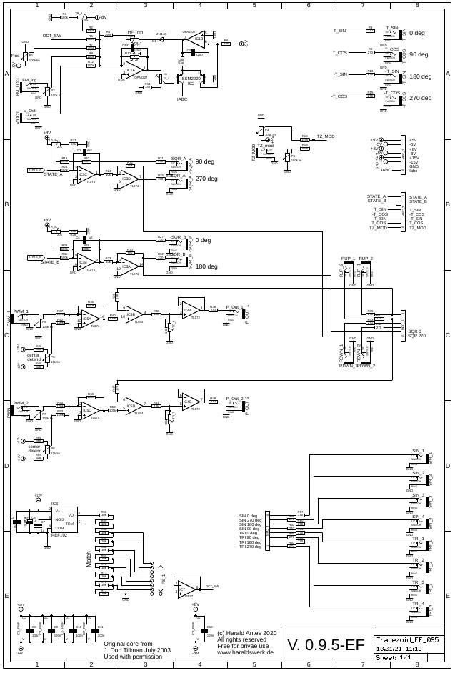 Trapezoid quadrature through zero VCO with waveshapers: Schematic control PCB