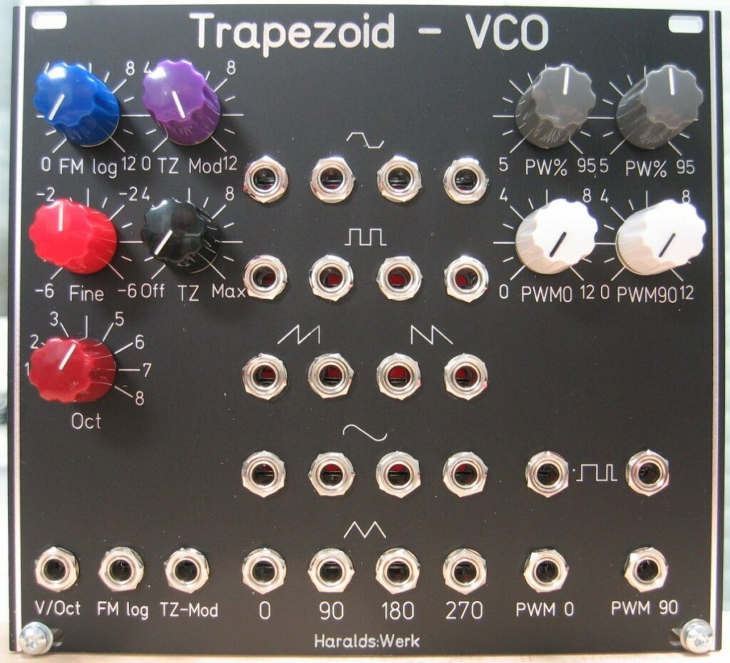 Trapezoid quadrature through zero VCO with waveshapers: Front