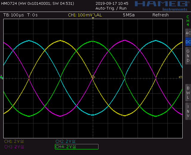 Trapezoid quadrature through zero VCO with waveshapers: Screenshot sine wave out