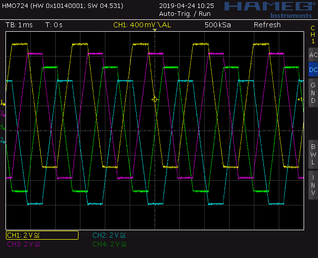 Trapezoid quadrature through zero VCO with waveshapers: Screenshot trapezoid wave out