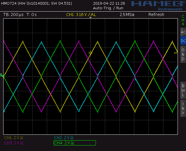 Trapezoid quadrature through zero VCO with waveshapers: Screenshot triangle wave out