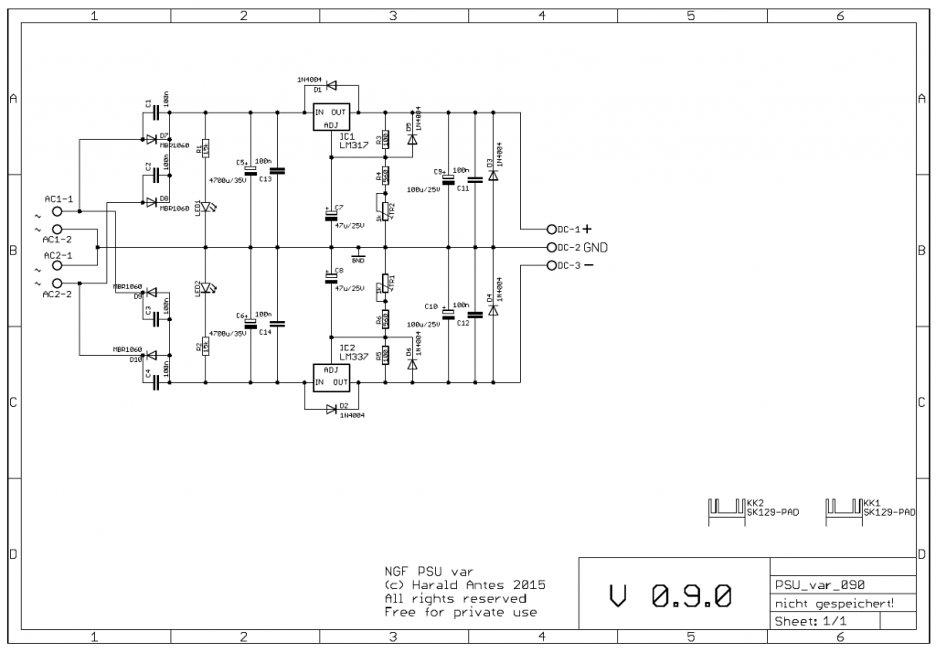 Small variable PSU with LM317 / LM337 schematic