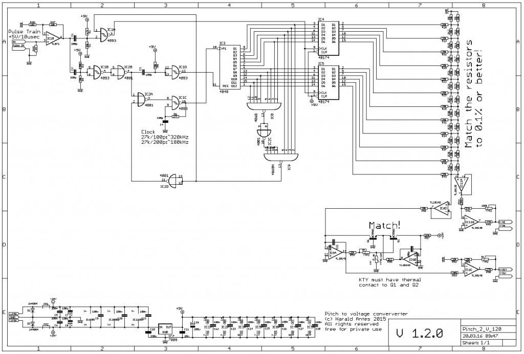 Pitch 2 voltage converter: schematic