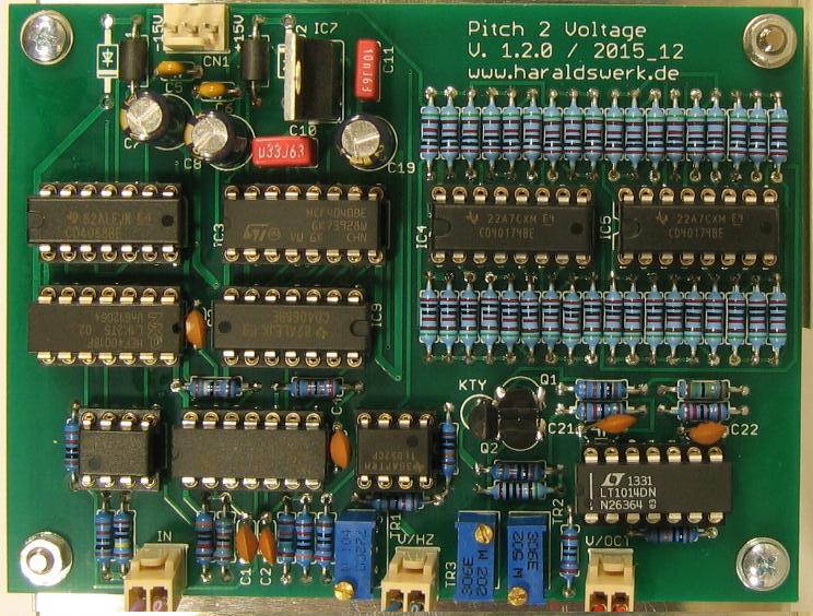 Pitch 2 voltage converter: stuffed PCB