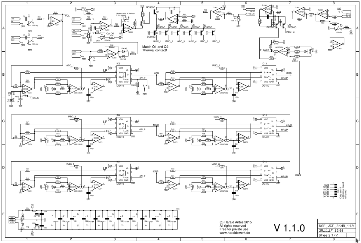 36dB VCF LP/HP schematic page one