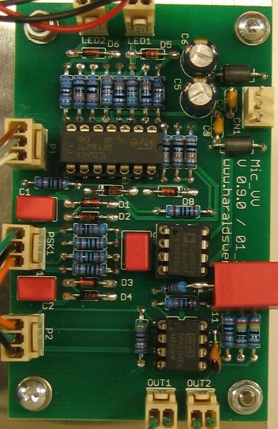 Microphone Preamplifier populated PCB