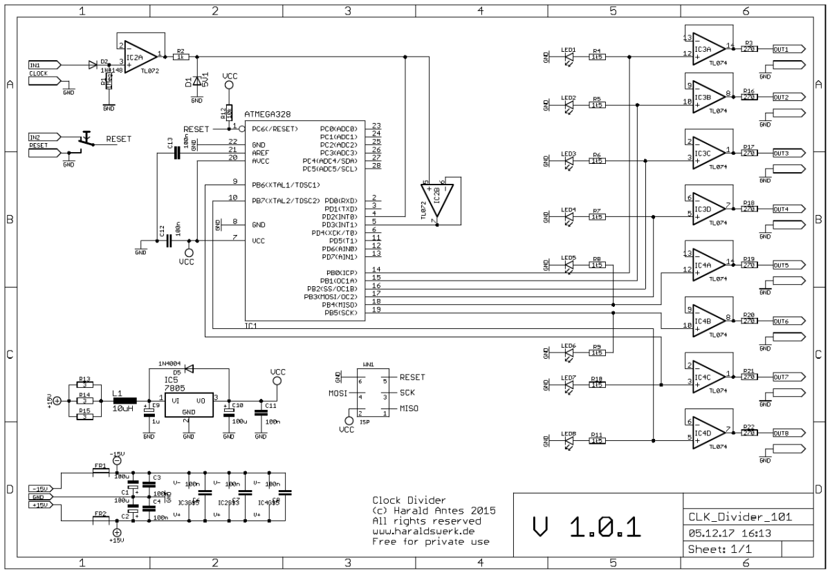 Clock Divider with prime numbers, schematic
