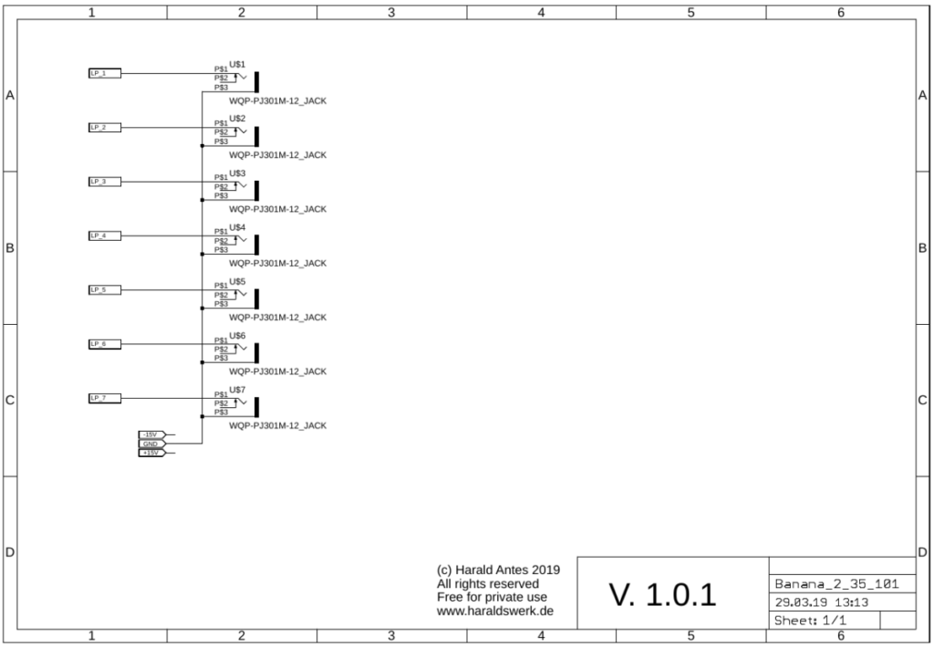 Banana to 3.5 Eurorack connection schematic