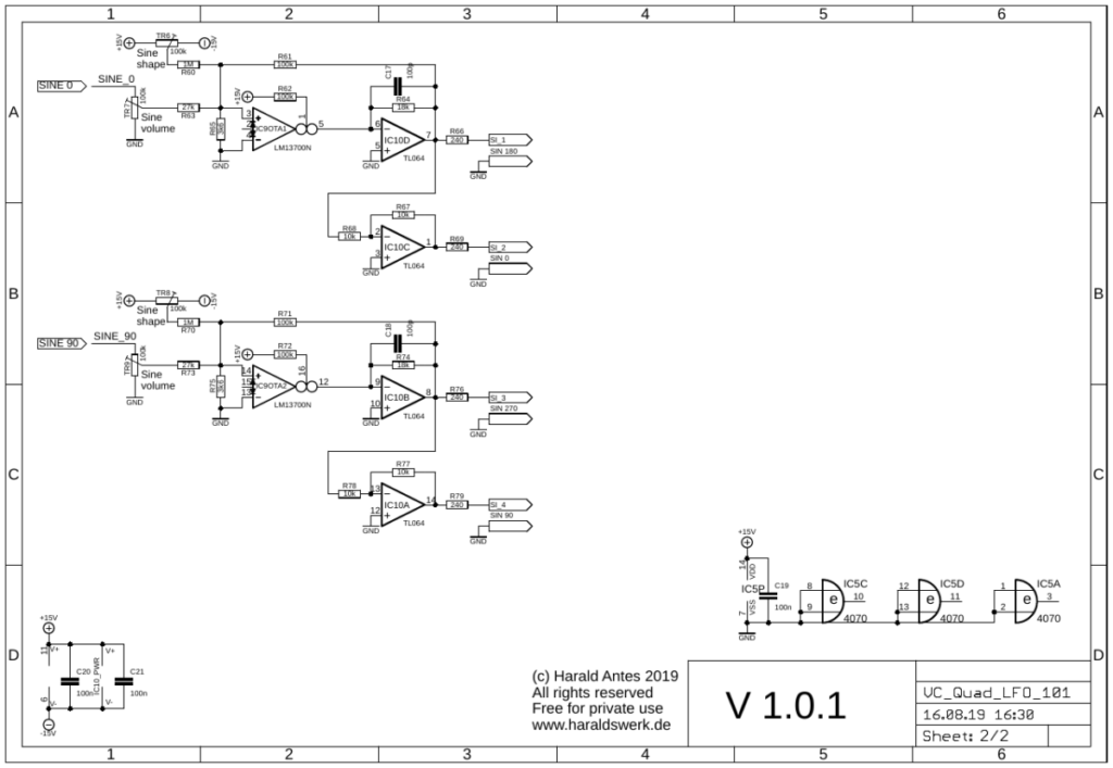 Voltage controlled quadrature LFO populated PCB