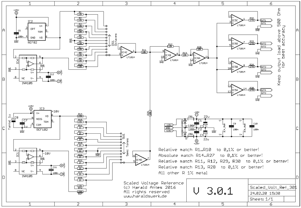 Scaled voltage reference with octave and semitone steps. Populated PCB