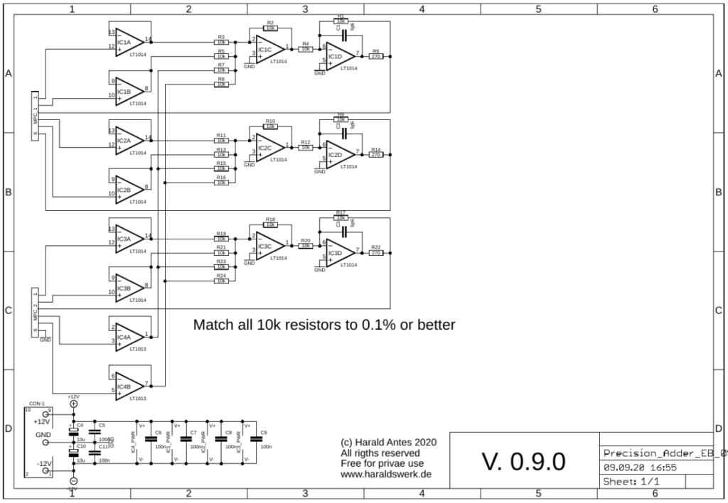 Precision Adder schematic main PCB