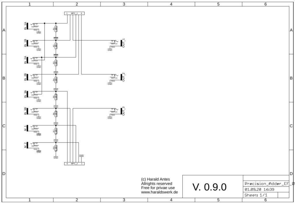 Precision Adder schematic control PCB