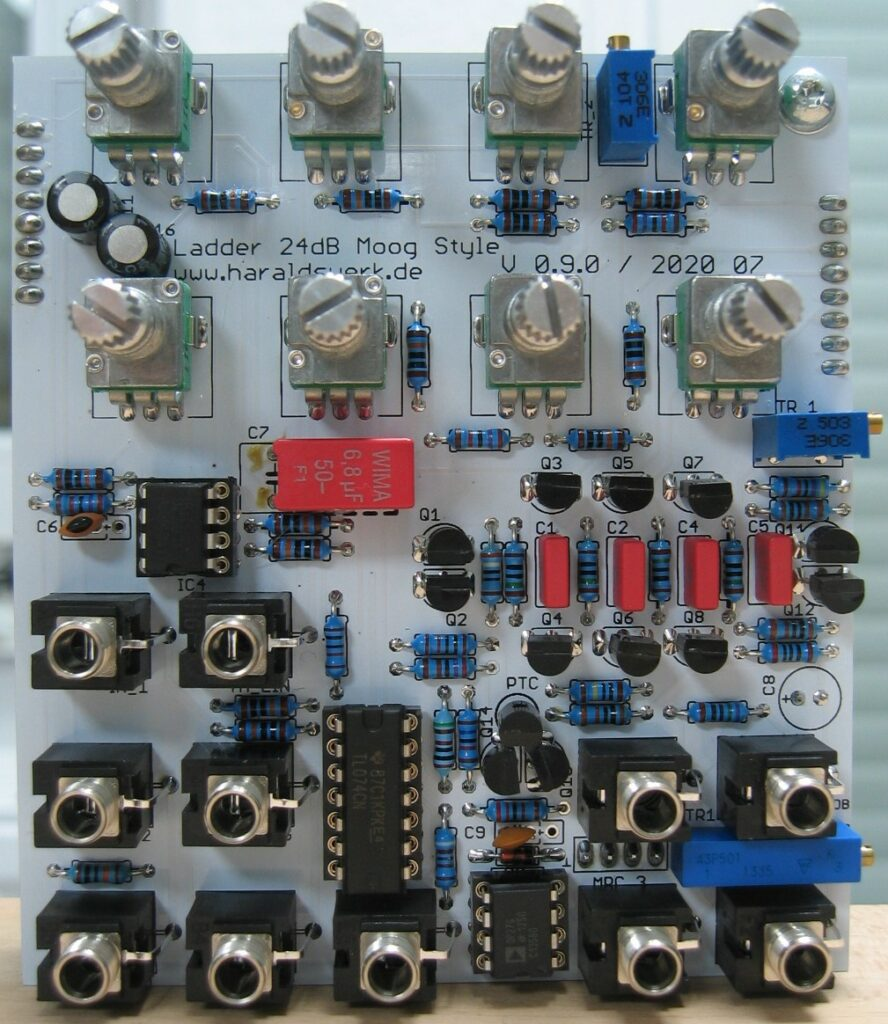 24dB Ladder filter: Populated control PCB