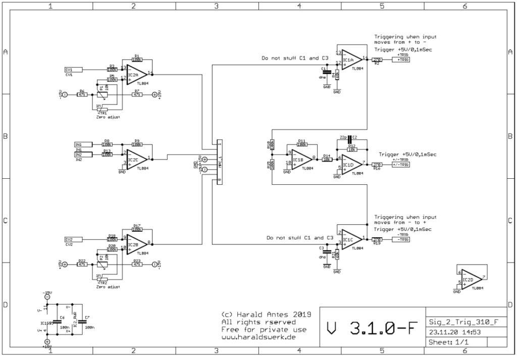 Signal to Trigger Converter: Schematic control board